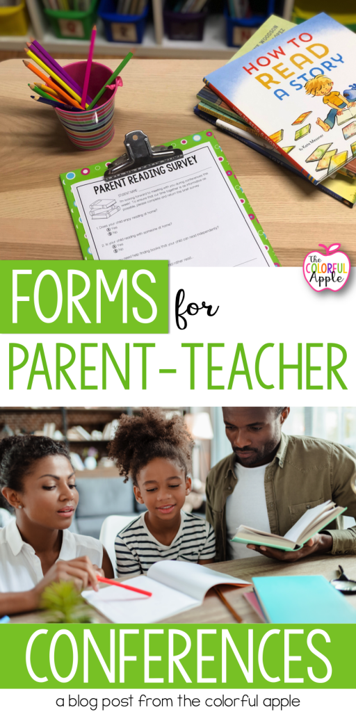Download the free parent teacher conference forms for reading.  A great way to learn about your students' reading habits in and out of the classroom!
