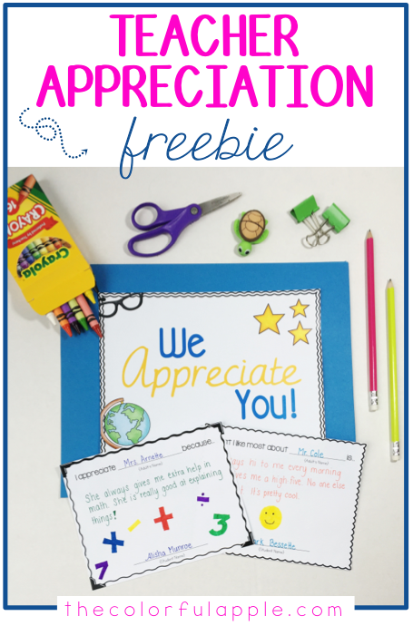 What a great idea for a teacher appreciation day gift!  Easy and free for students to put together to celebrate all the staff at their school.