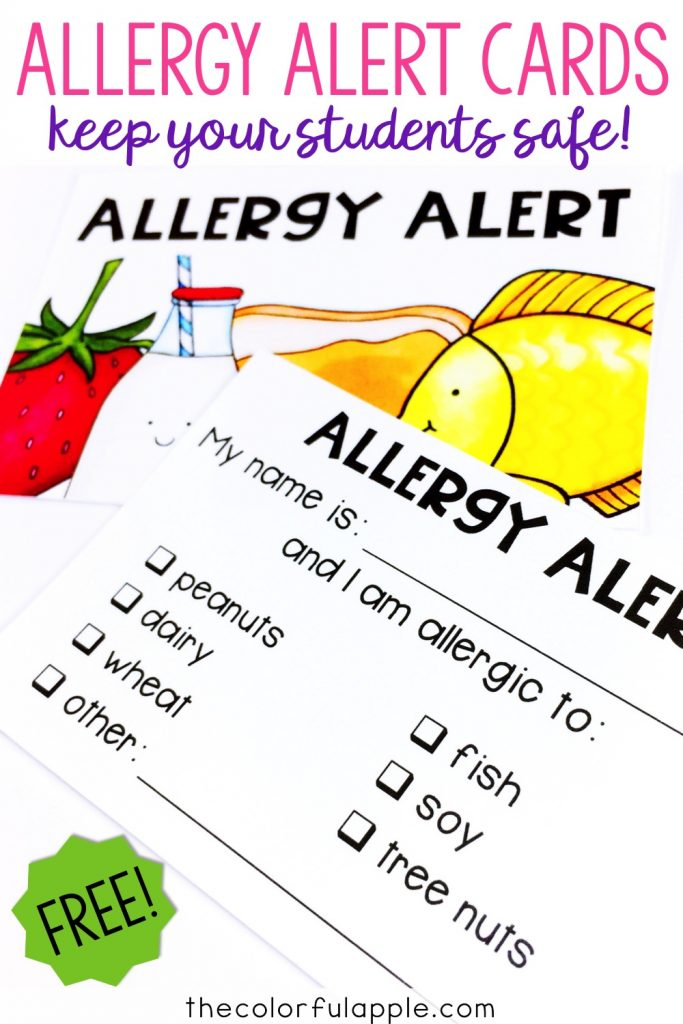 Food allergies can be very dangerous for a child. Teachers can use these Allergy Alert cards to help ensure that students are safe!