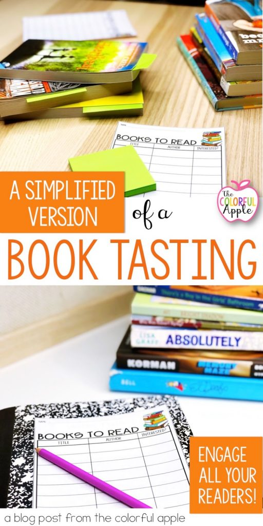 Book tastings are a wonderful way to get elementary or middle school students engaged in reading and familiarizing them with books.  A book pass is a simplified version!  So easy to implement with these tips and tricks, as well as a free template for students to record titles on their to be read list!