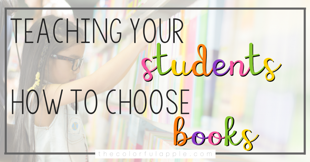 To create life-long readers, students need to be able to self-select their own books.  This lesson will help you model how to choose a book to read.