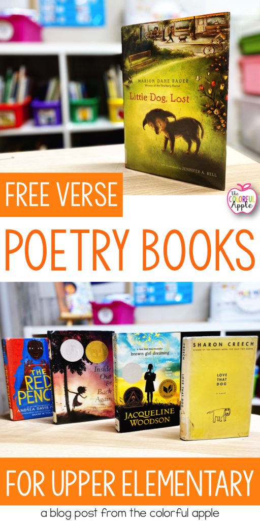 Using poetry books for upper elementary students!  Reading books written in verse is a great way to incorporate more poems into your daily routine.