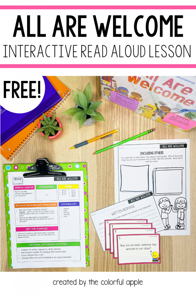 Free All Are Welcome picture book lesson plan and activities.  Perfect read aloud to share with students during the first week of school!